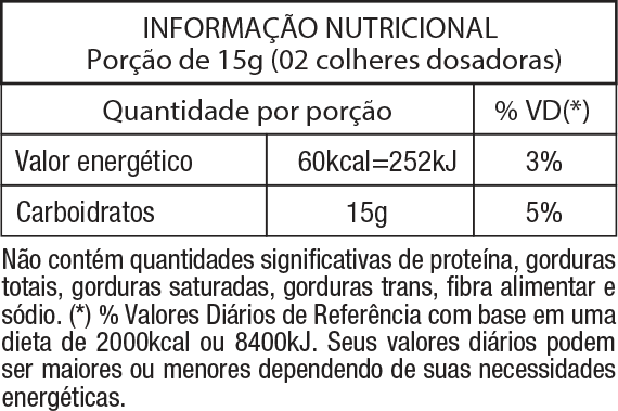 Tabela Nutritional Palatinose Pure 300g | Nature Real Nutrition
